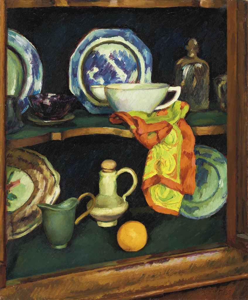 Duncan Grant (1885-1978) - Still life with red and yellow scarf, 1955
