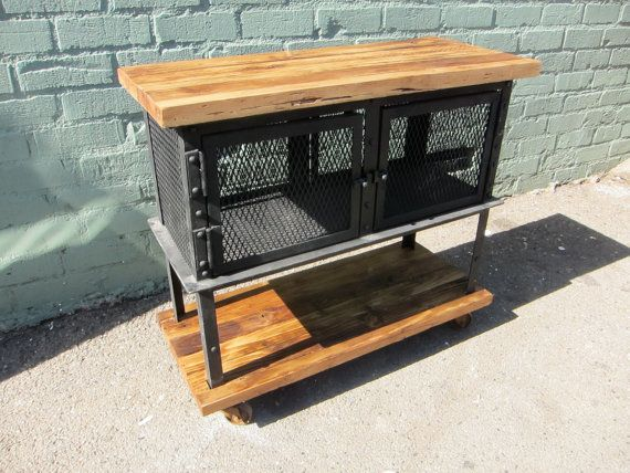 Reclaimed Wood And Iron Mesh Cabinet On Wheels Reclaimed Wood Wood Reclaimed Wood Cabinet
