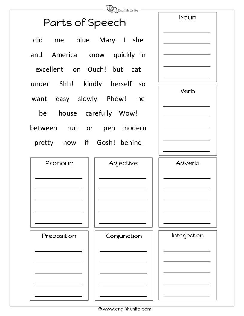 Parts of Speech Worksheet   English Unite   Parts of ...