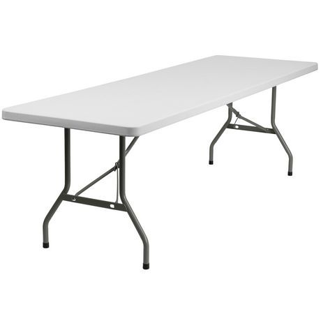 Flash Furniture 30 W X 96 L Granite White Plastic Folding Table