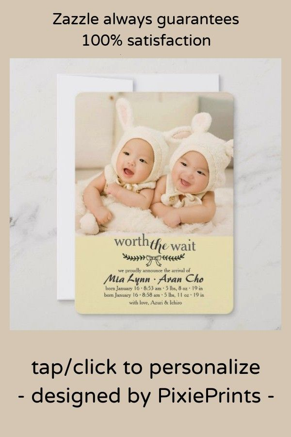 The Wait Yellow Photo Birth AnnouncementWorth The Wait Yellow Photo Birth Announcement Birth Announcement TemplateV06 by Template Shop on creativemarket Simply Sweet  Gra...