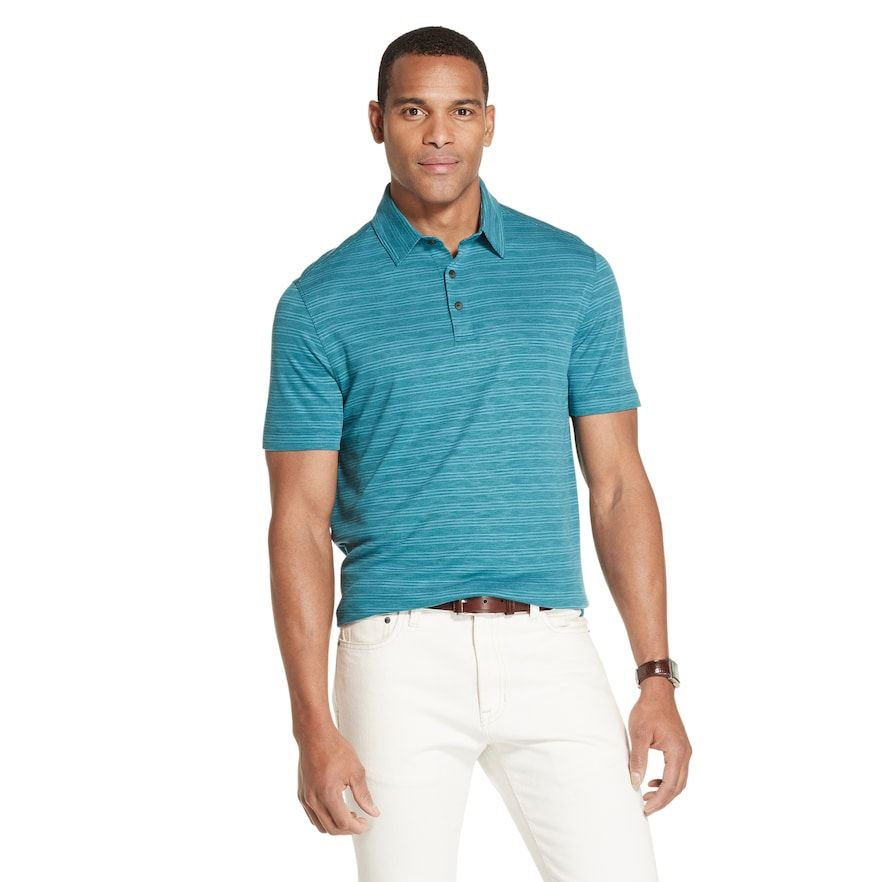 Men S Van Heusen Air Classic Fit Striped Performance Polo Mens Tops Traditional Sleeve Cool Style