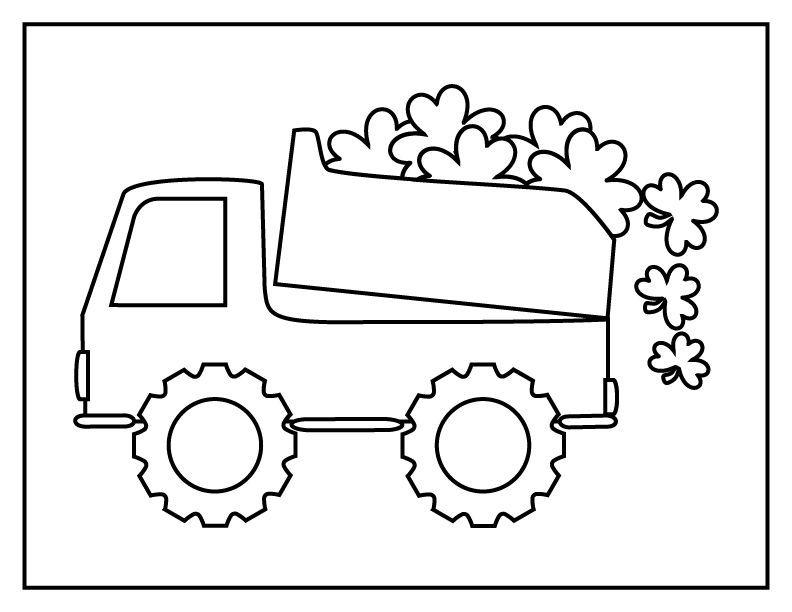 A Simple St Patrick S Day Dump Truck Coloring Page For Boys And