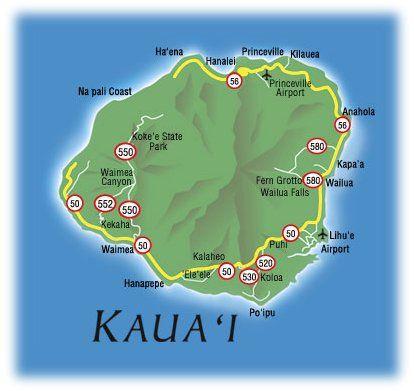 Kauai Hawaii Island Map Hawaiian Islands Kauai | Map of hawaii   the Hawaiian island of
