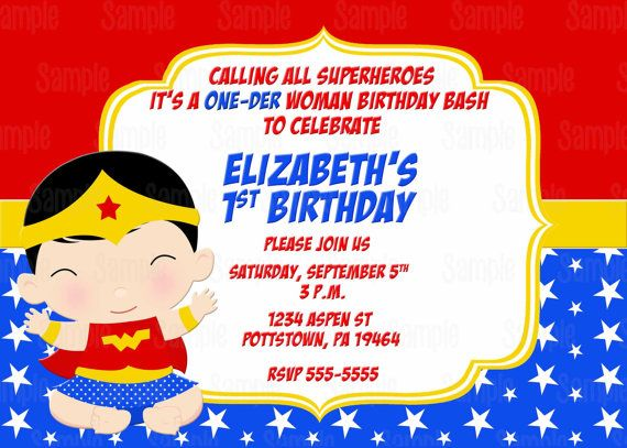 Printable Wonder One Der Woman Super Baby Birthday Party