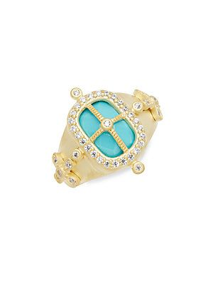 FREIDA ROTHMAN Classic Turquoise, Cubic Zirconia & 14K Gold-Plated Ste