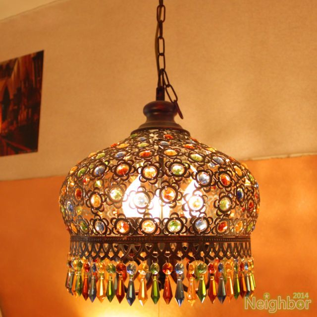 Bohemian Style Iron Color Crystal Pendant Lamp Chandelier Ceiling