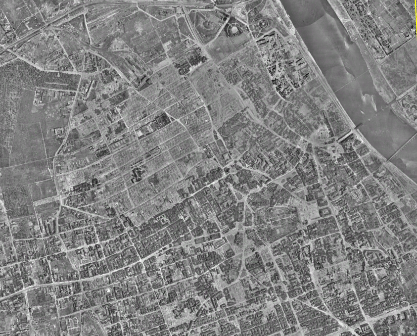 Overhead view of Warsaw after WW2 Album