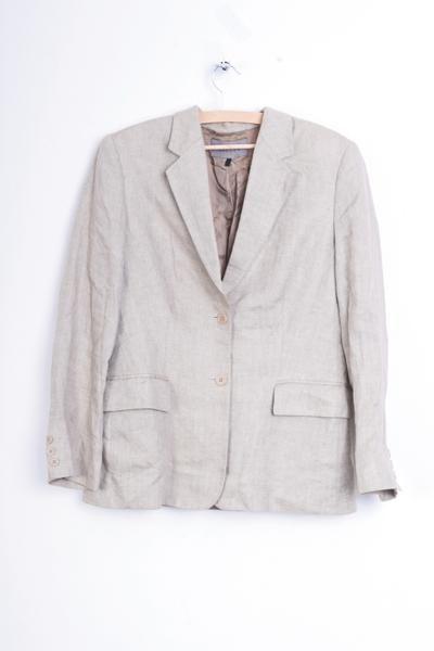 Jaeger Womens 12 L Jacket Blazer Beige Linen - RetrospectClothes