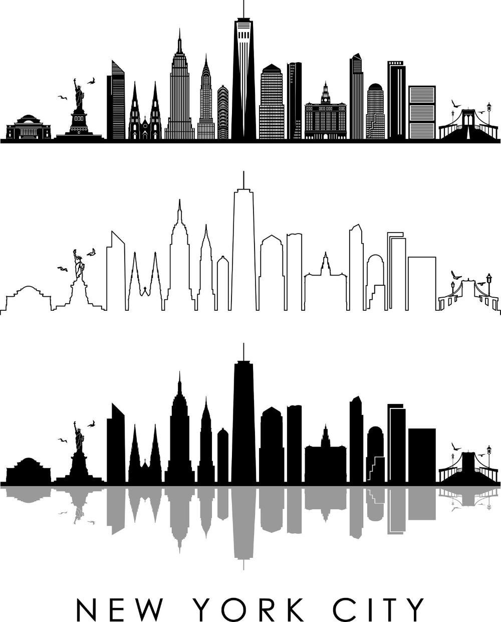 New York City Usa Skyline Outline Silhouette Vector Svg Eps Etsy City Skyline Art New York Skyline Silhouette City Skyline Silhouette