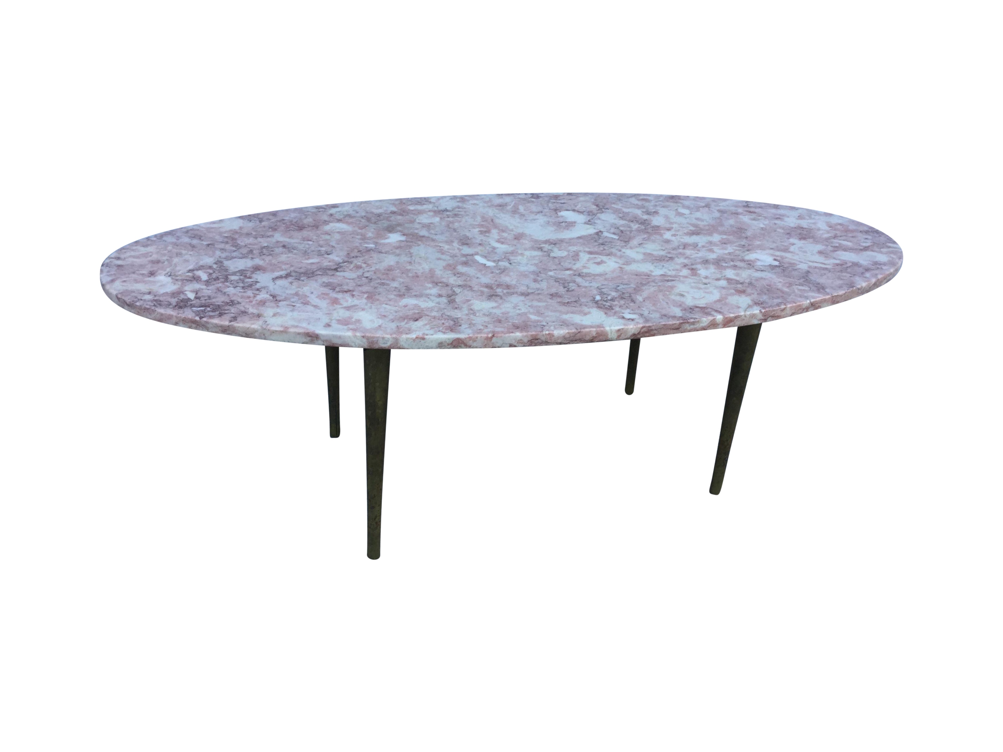 Fabulous S Modern Oval Pink Marble Coffee Table With Brass Legs - Marble coffee table with brass legs