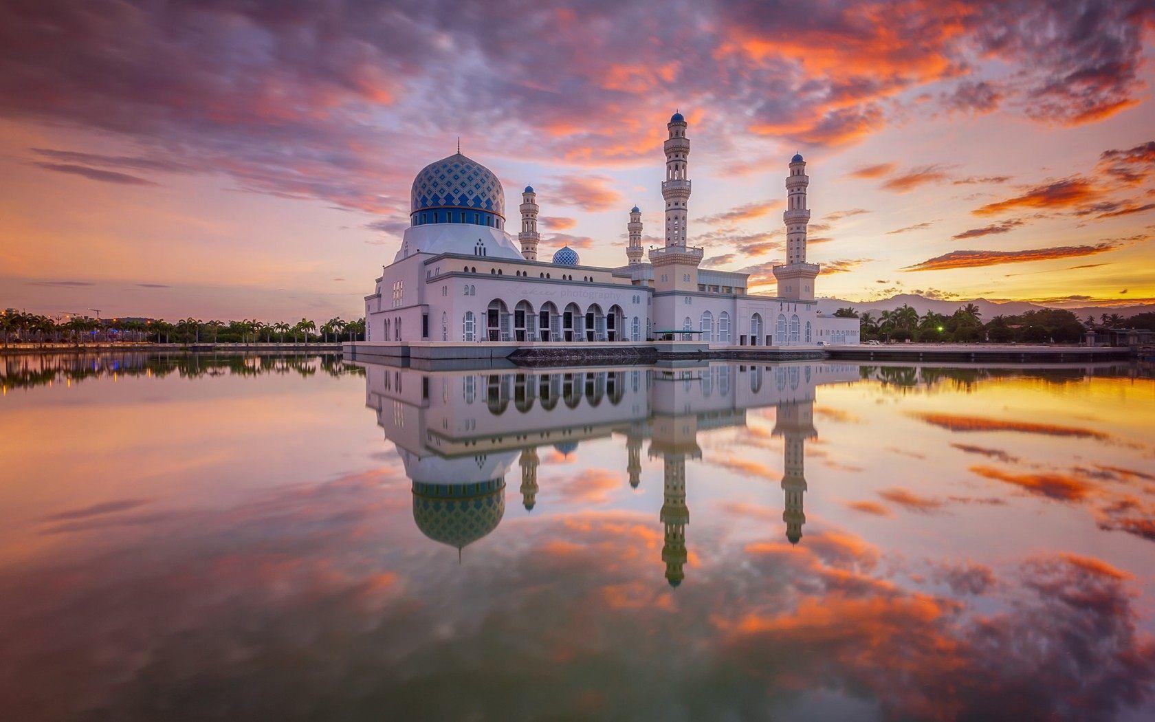 full hd kota kinabalu mosque desktop wallpaper download free for
