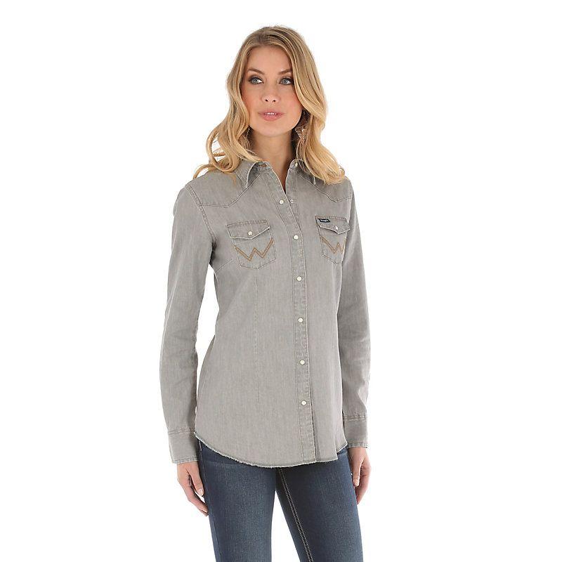 b464ce2a0d Wrangler Women s Long Sleeve Western Snap W Stitching on Pocket Denim Shirt  (Size  Large) Grey