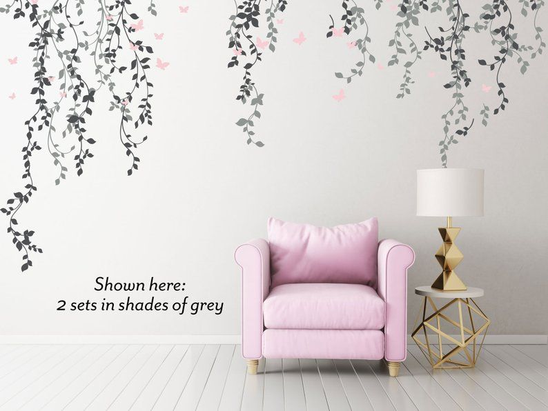 hanging vines and leaves floral wall decals set with on wall stickers id=24940