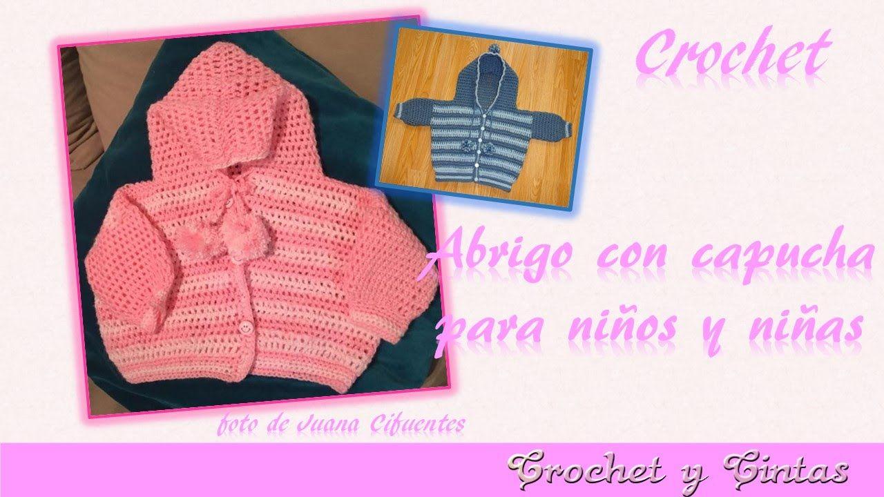 Abrigo, saquito o chaqueta con capucha para bebé a crochet - Parte 2 ...