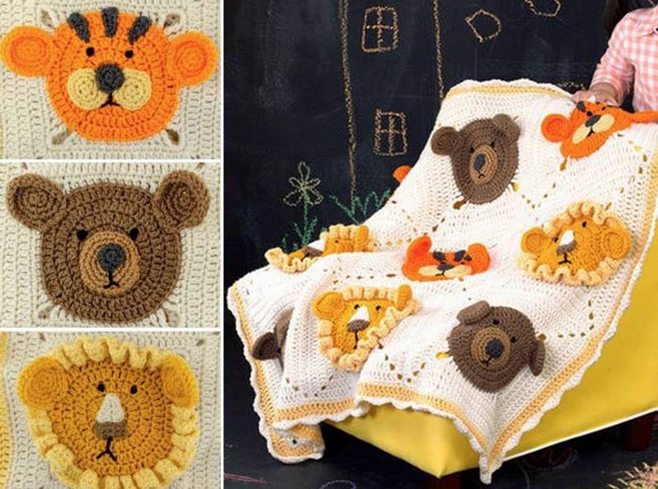 Lion Tiger And Bear Blanket Crochet Lion Crochet Bear