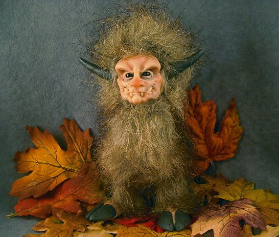 OOaK Polymer Clay Oni Troll Art Doll Fairy Sculpture by oddfae, $80.00