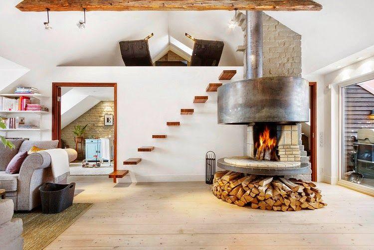 camino chimeneas de interior del desvn espacios abiertos espacios pequeos diseo de la chimenea casas modernas todo