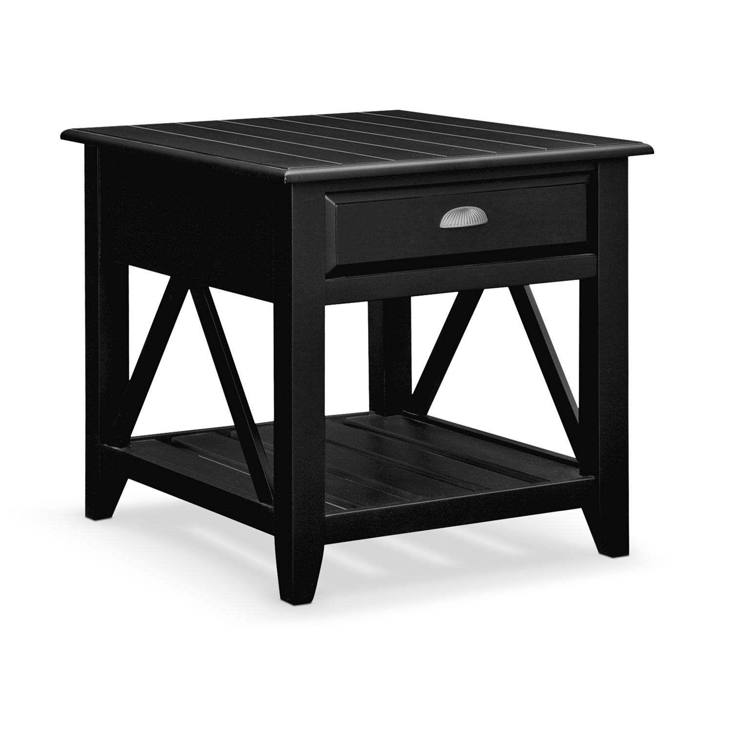 Best Plantation Cove Coastal Chairside Table Black Family 400 x 300