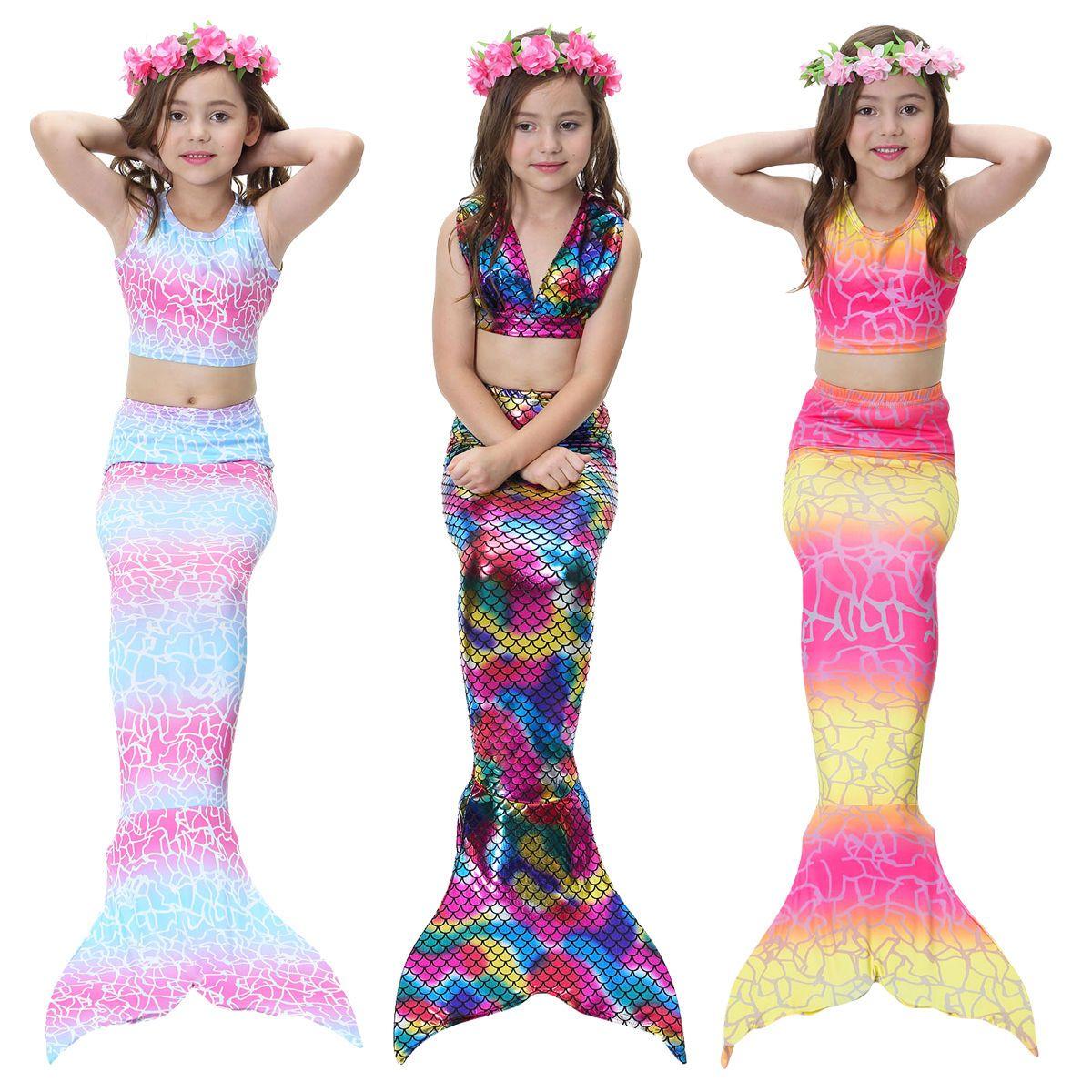 01226a2d5caa6 New Kids Girls 3Pcs Mermaid Tail Swimming Bikini Set Swimwear Mono Fin  Swimmable