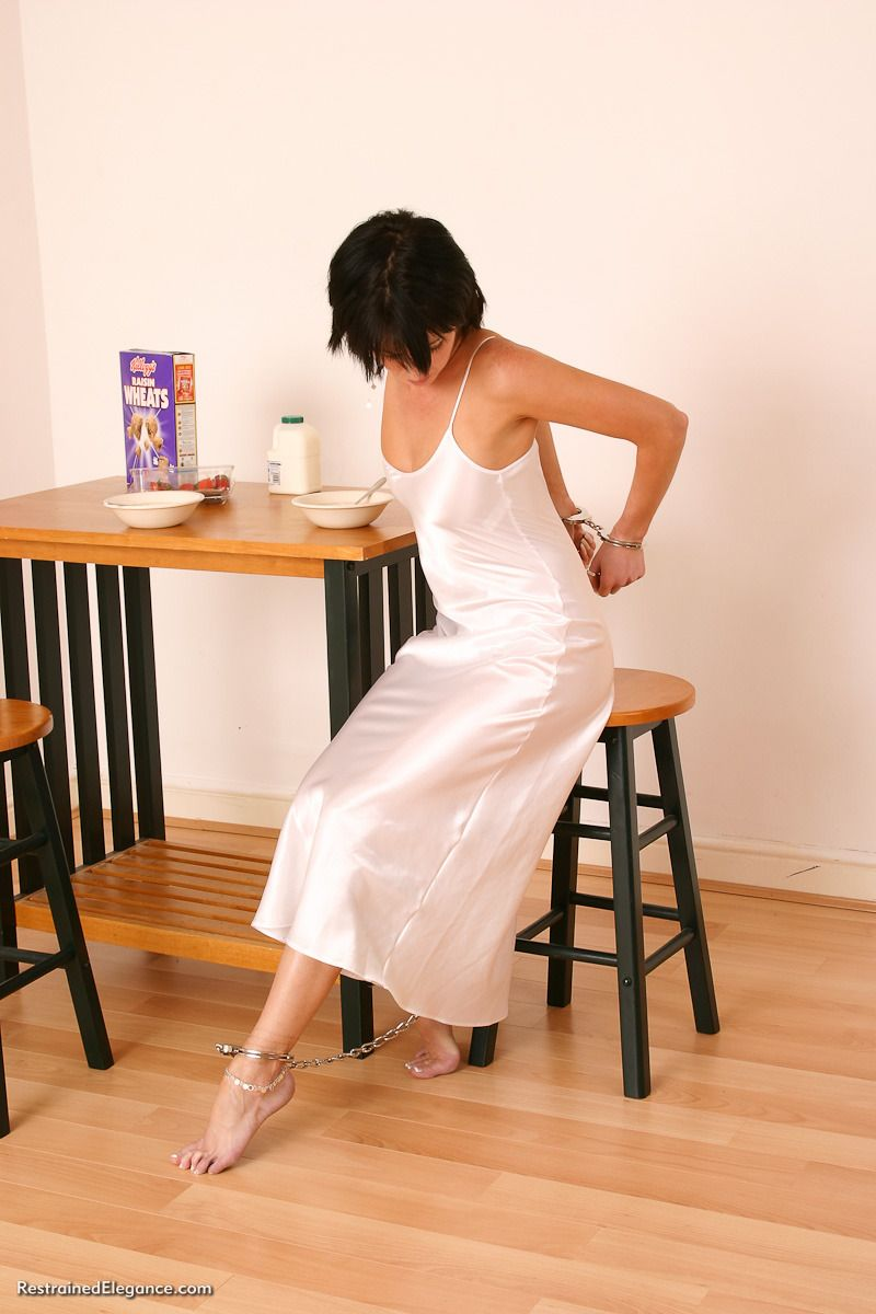 Handcuffed Beauty Photo Satin Dresses Night Gown Backless Dress
