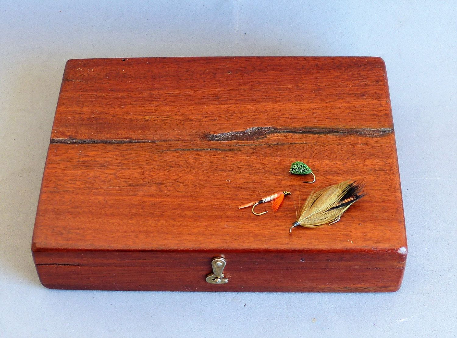 Teak Wood Handmade Fly Box Wood Fishing Fly Box Mens Jewelry Box