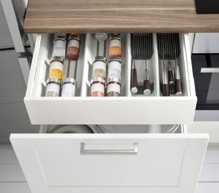 Schubladen für küchenschränke  Geöffneter METOD Unterschrank mit 2 Schubladen in Weiß mit GRYTNÄS ...