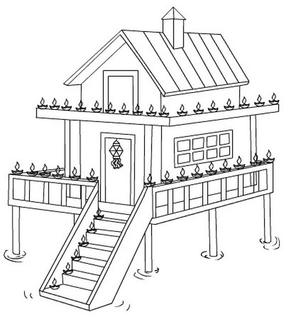 Diwali Colouring Pages Diwali - best of coloring pages of a house on fire
