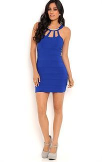 5ccec8655c Royal Blue Bodycon Dress with Gold Trim Cage Neckline