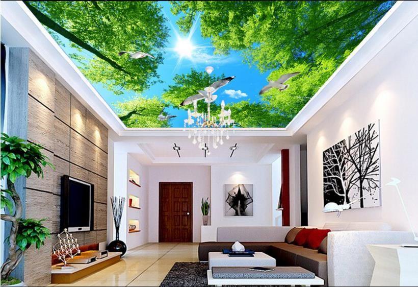 Custom 3d Ceiling Murals Hd Green Fantasy 3d Ceiling Wallpaper Sky