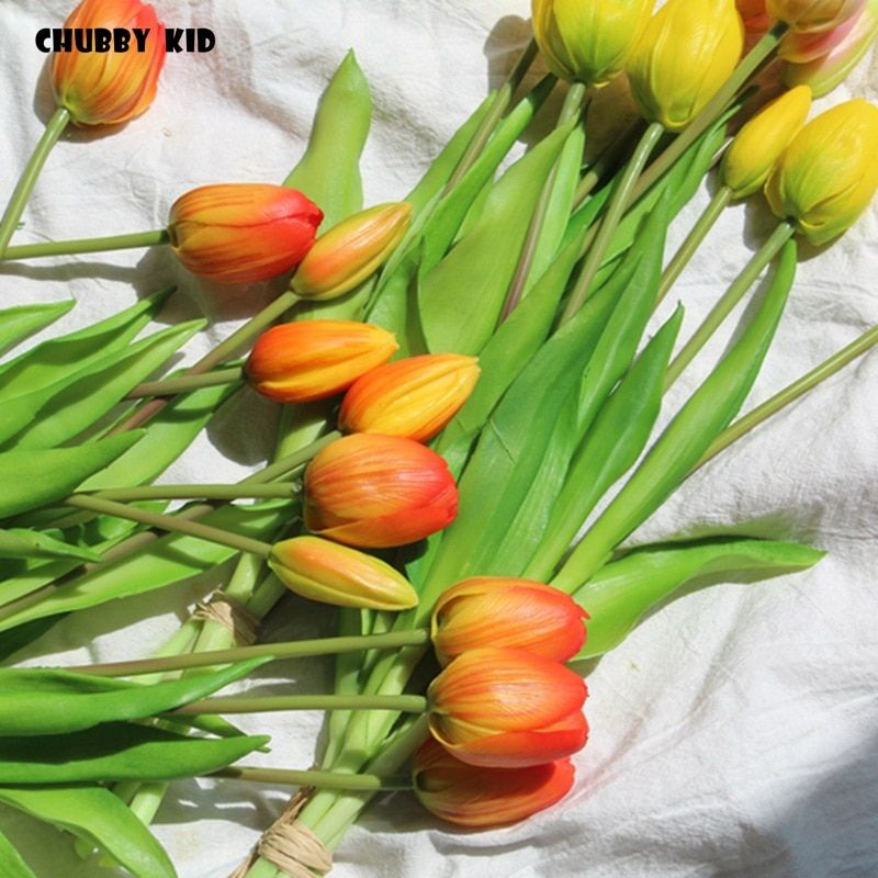 12 Bouquets Wholesale High Simulation Soft Plastic Tulip Flowers Wedding Bouquet Fake 5 Heads Tulip Flower Artificial Tulips Attention Valid Discount