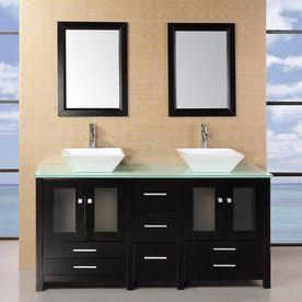 Design Element Jacoby Espresso Double Vessel Sink Bathroom Vanity With Glass Top Common 61 In X 22 In Actual 61 In X Bathroom Sink Vanity Double Sink Bathroom Double Sink Vanity