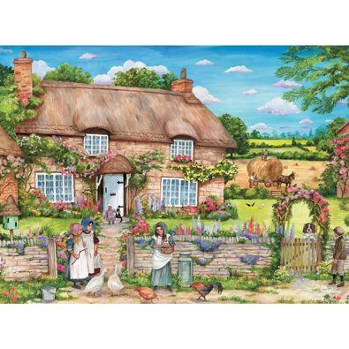 """300 Piece Debbie Cook Art Puzzle /""""Cottage Gathering/"""" Large Pieces New 18/"""" x 24/"""""""