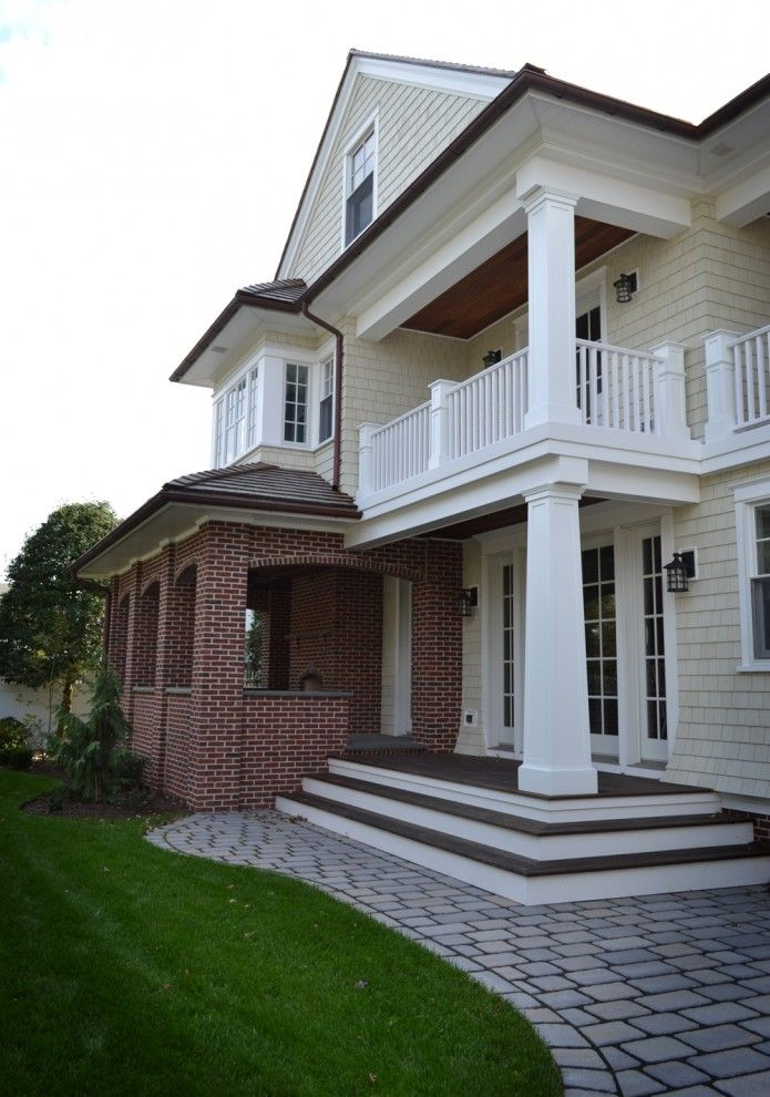 Exterior Paint Colors With Red Brick Traditional Balcony Porch Columns