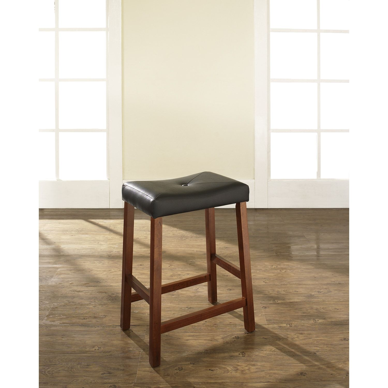 Crosley Furniture Clic Cherry 24 Inch Upholstered Saddle Seat Bar Stools Set Of 2