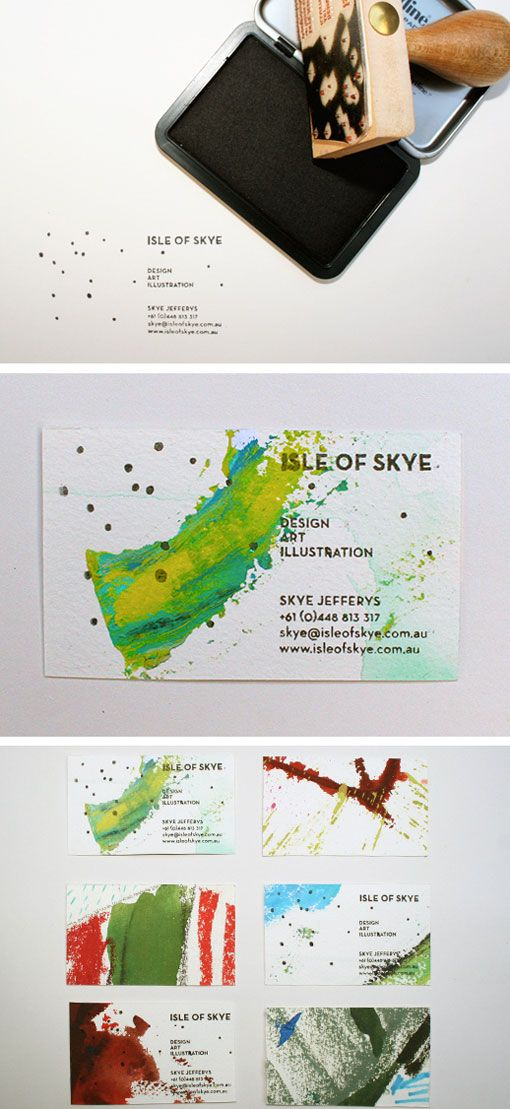 New business cards by artist and designer Skye Jeffreys. They were created using a huge painting cut into business card size pieces, in combination with a custom rubber stamp.