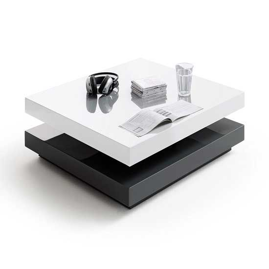 Hugo High Gloss Coffee Table Square In White And Grey