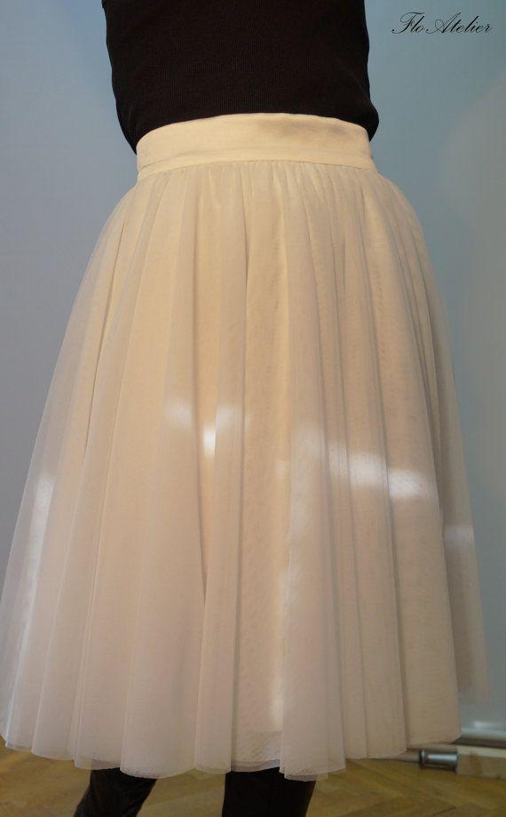 Women Tulle Skirt/Tutu Skirt/Princess Skirt/Handmade White Skirt/Short Skirt/Off White Skirt/Grunch Skirt/Long Casual Skirt/F1352