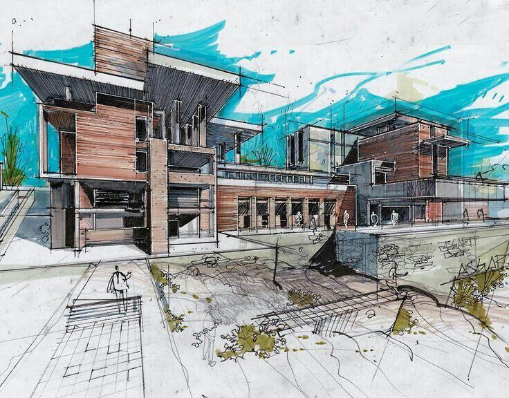 Architekturzeichnungen Architektur Skizze Google Suche Croquis Moderne Architekten Hande Zeichnen Wasserblau Haus Layouts