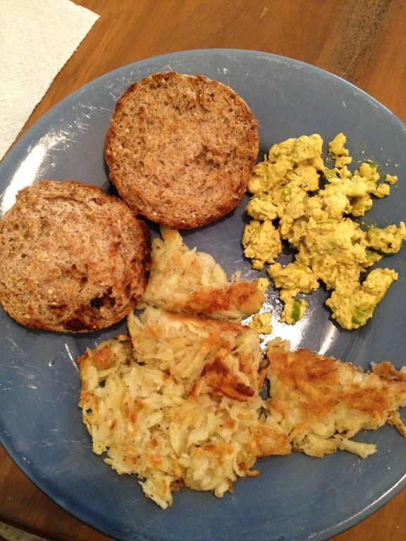 """VE & GF """"Egg"""" Scramble, homemade Hashbrowns and English Muffin... Have to say it was pretty darn tasty!!!"""
