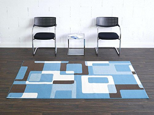 Teppich Retro blau beige / moderner Teppich / Wohnzimmerteppich - Teppich Wohnzimmer Braun