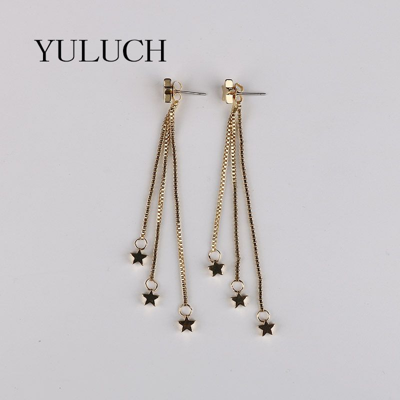 pair 2017 latest gold earring designs long five star earring for ...