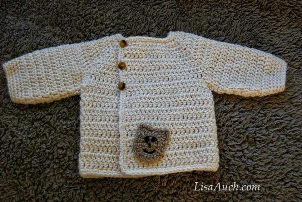 Free Crochet Pattern Baby Sweater-cardigan with buttons - Cute ...