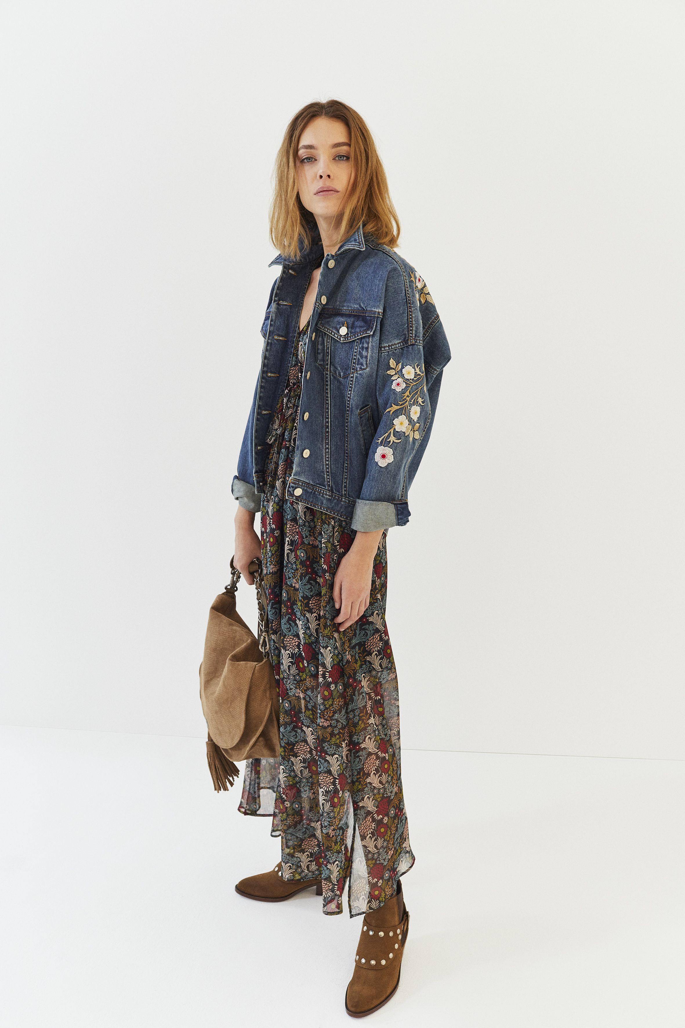 a0dd0e50e5ef0 Veste en jean brodée fleurs et robe longue en voile imprimé floral IKKS  Women, collection femme Automne hiver 2017  womenstyle  FW17