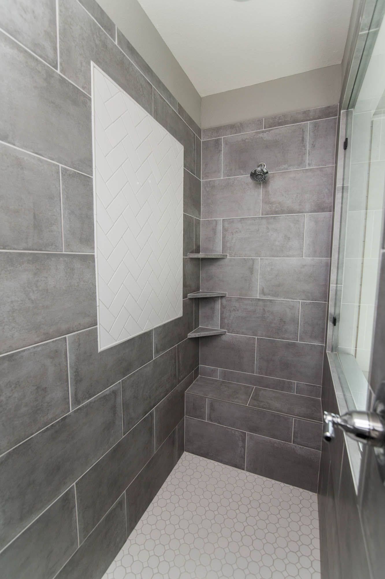 Walk In Shower Inspiration Large Gray Tile Gray Shower Tile Walk In Shower Grey Tiles