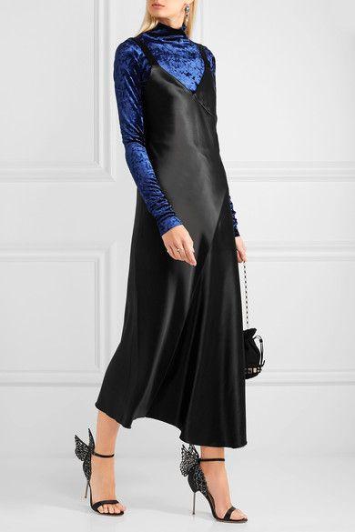 cd099b0ba7 Sophia Webster - Evangeline Crystal-embellished Satin Sandals - Black
