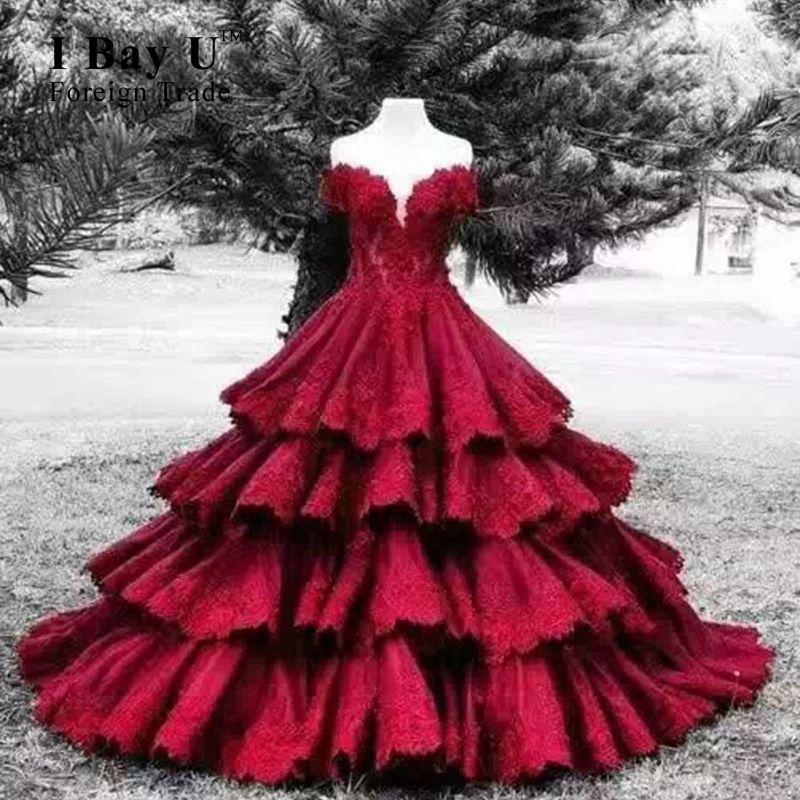Red Ball Gown Ruffle