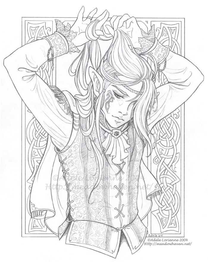 Elf Fairy Adult Coloring Page Royalty Luke Lineart By Saimain