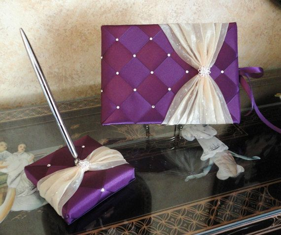 Purple Guest Book And Pen Set Holder With Light Gold Sash Or