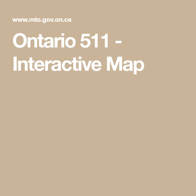 Ontario 511 - Interactive Map | ROAD CONDITIONS